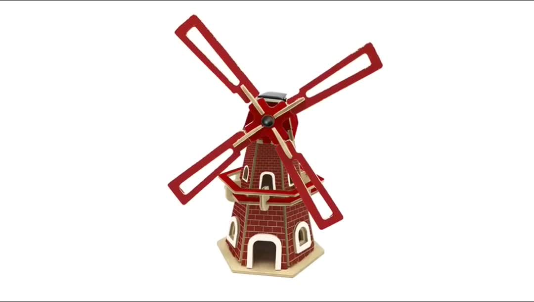 Educational Spinning Solar Windmill Assembly Toy 3D Wooden Puzzle Kid