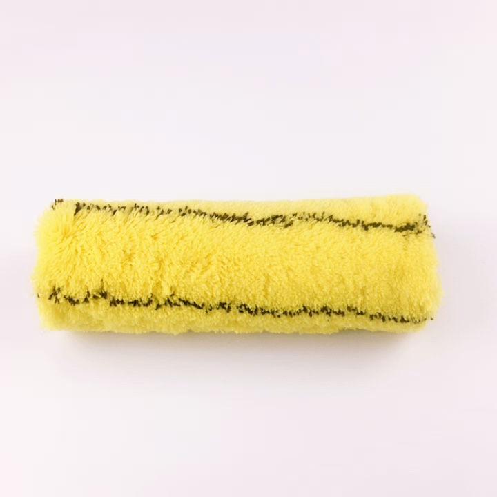 European paint roller brush,design painting roller,brush roller of stitched yellow with cross stripe 21301