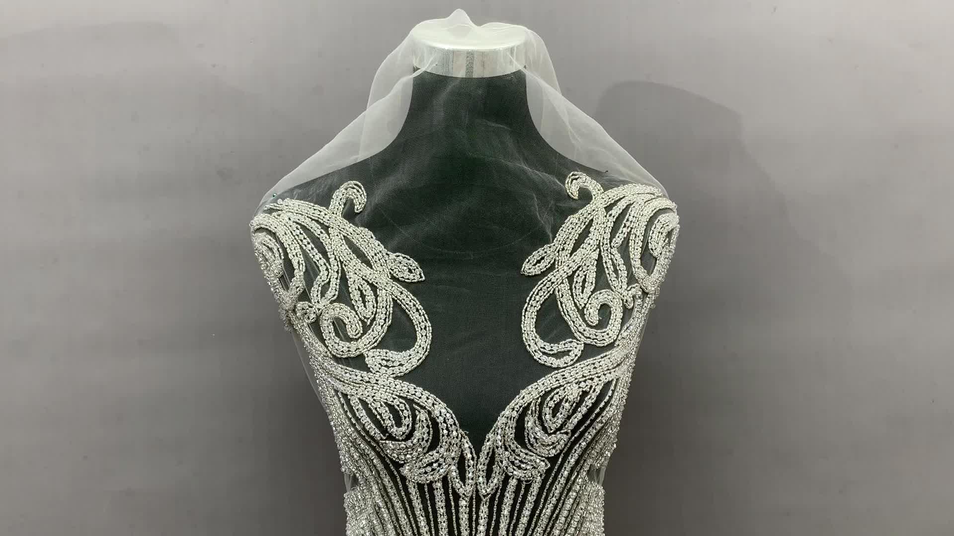 Long patches rhinestone crystal wedding dress applique