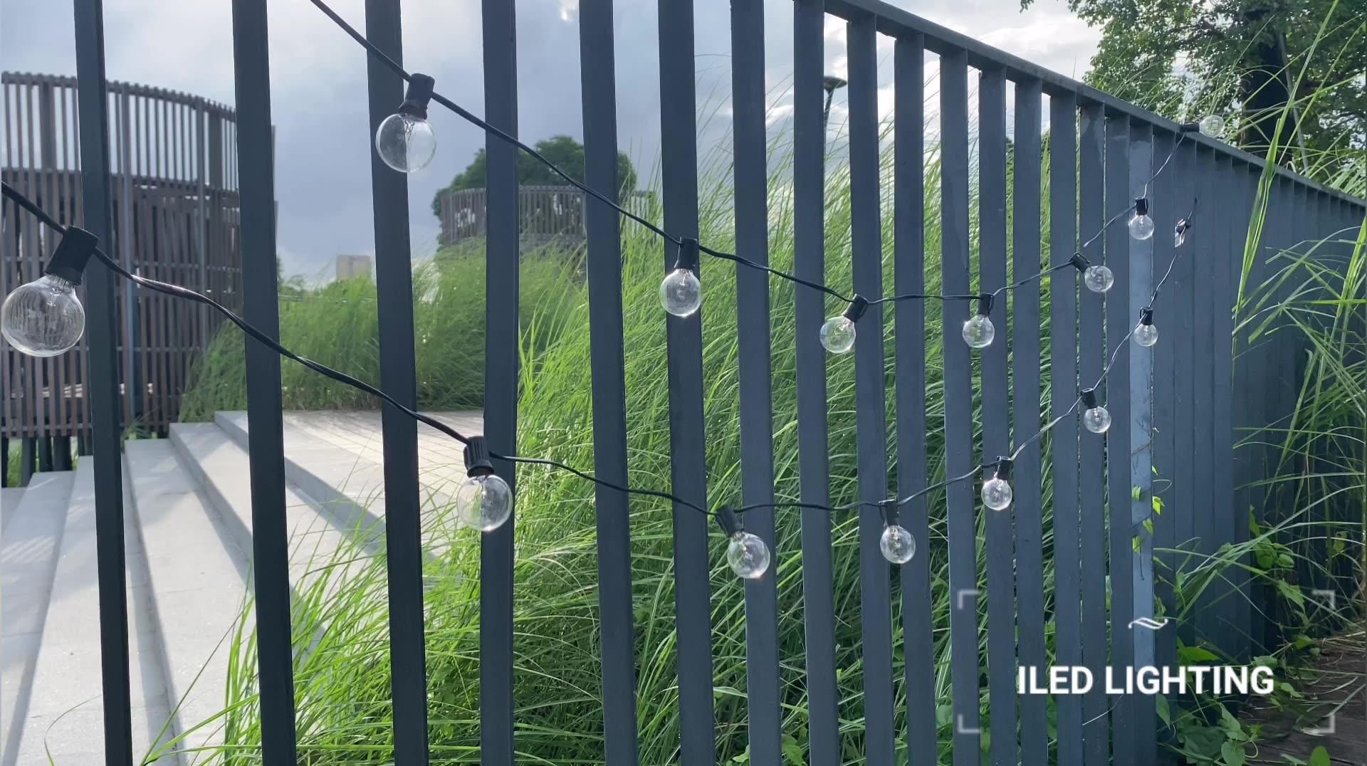 2020 weihnachten 25Ft E12 Basis Transparent G40 Globus Glühbirne Lichterketten Mit 25 Klar Ball Vintage Lampen Indoor/Outdoor hängen Terrasse