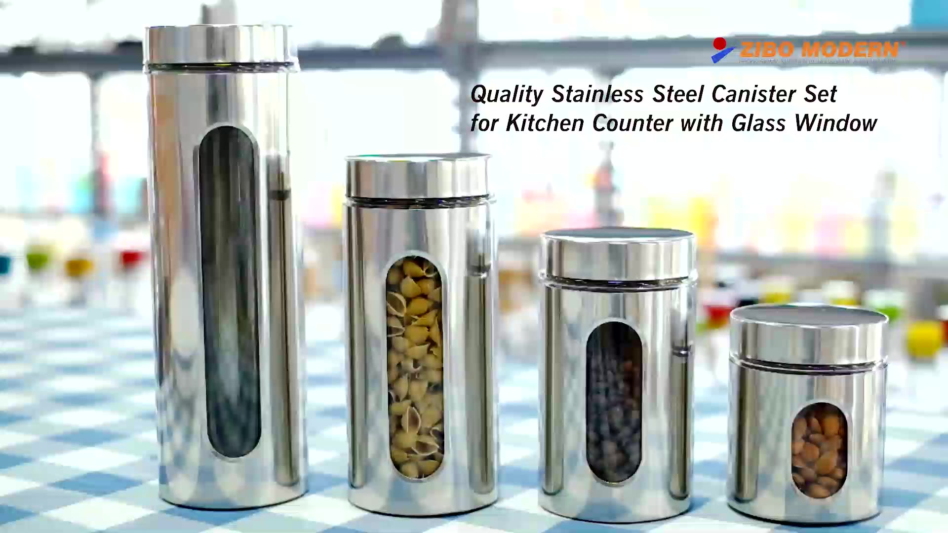 Quality Stainless Steel Canister Set for Kitchen Counter with Glass Window - Food Storage Containers with Lids Airtight