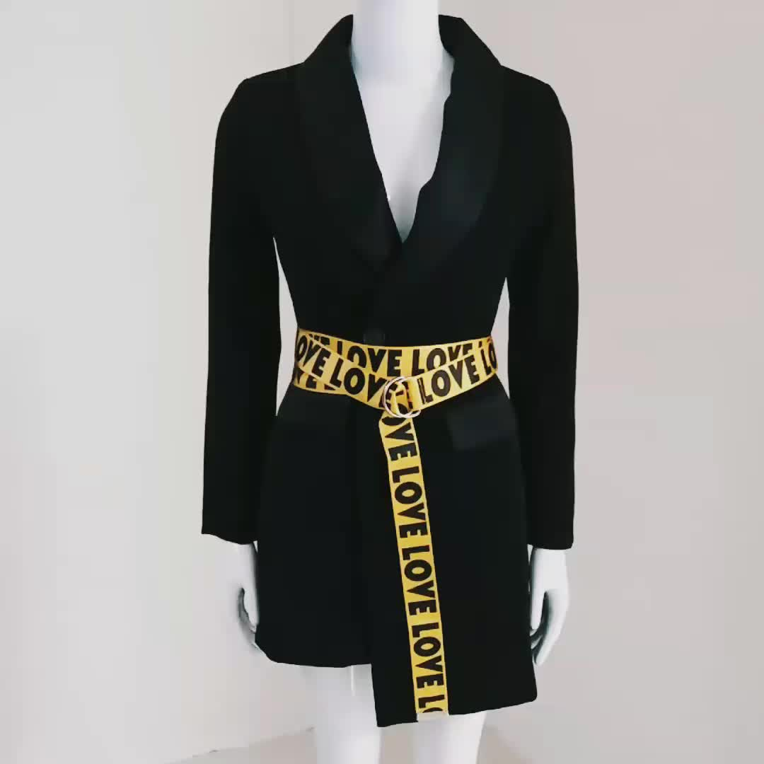 A2775 SS New Arrived  Long Sleeve Black Cotton Blazer With Letter Belt Women Boutique Coat  Instock Wholesale