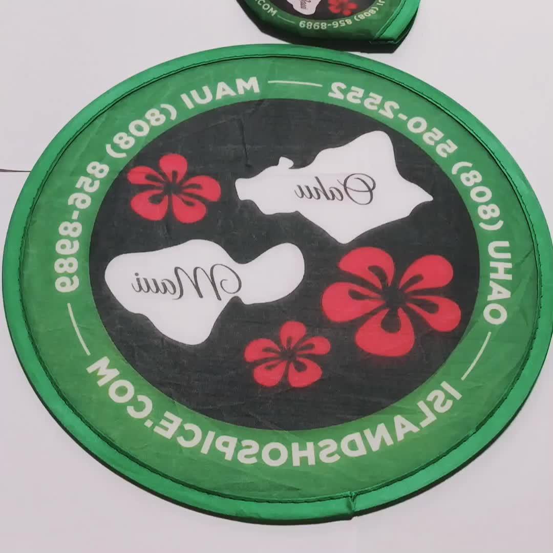 พับรอบพัดลมพับ Freesbee พัดลมโลโก้ที่กำหนดเองโพลีเอสเตอร์พัดลม