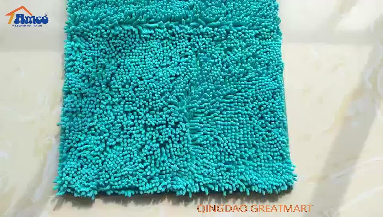 Absorbente para alfombra de piso de microfibra de poliéster de chenilla alfombra de baño lavable baño conjunto de alfombra