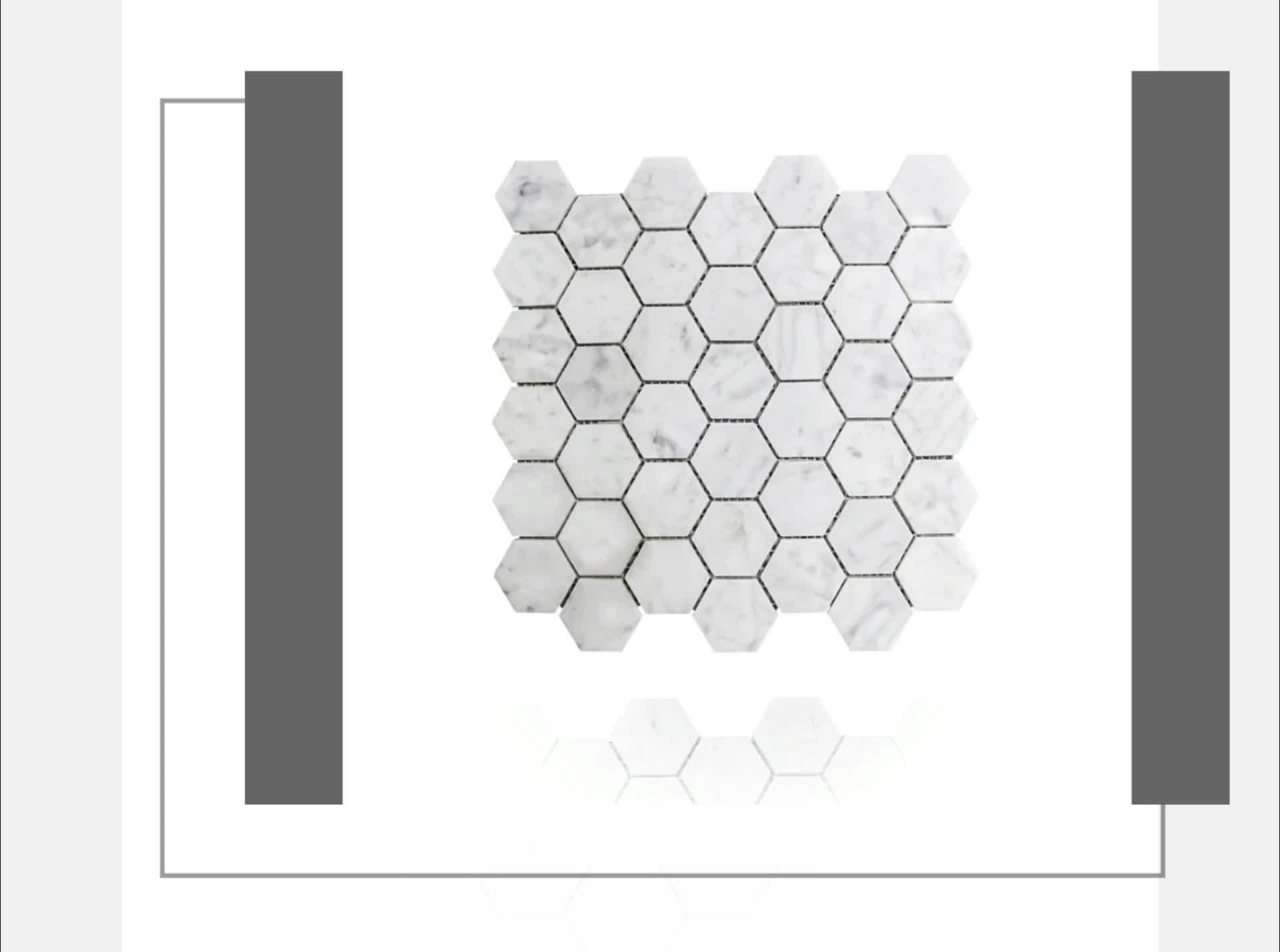 Wholesale Valakas white Honeycomb Bathroom Wall Hexagon Marble Mosaic Tile
