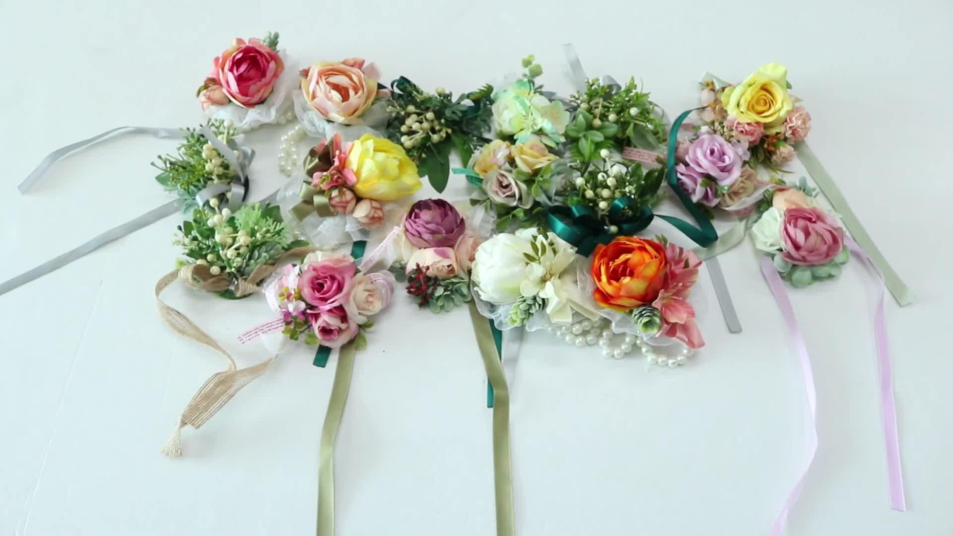 New arrival silver ribbon wrist flower band Chinese rose wedding wrist flower