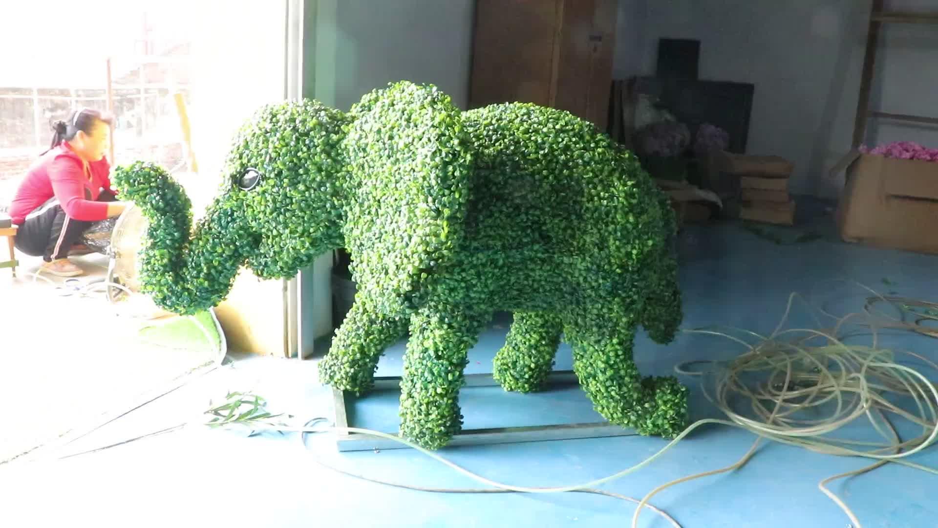Зеленая трава проволока топиарная рама искусственный Самшит слон животное