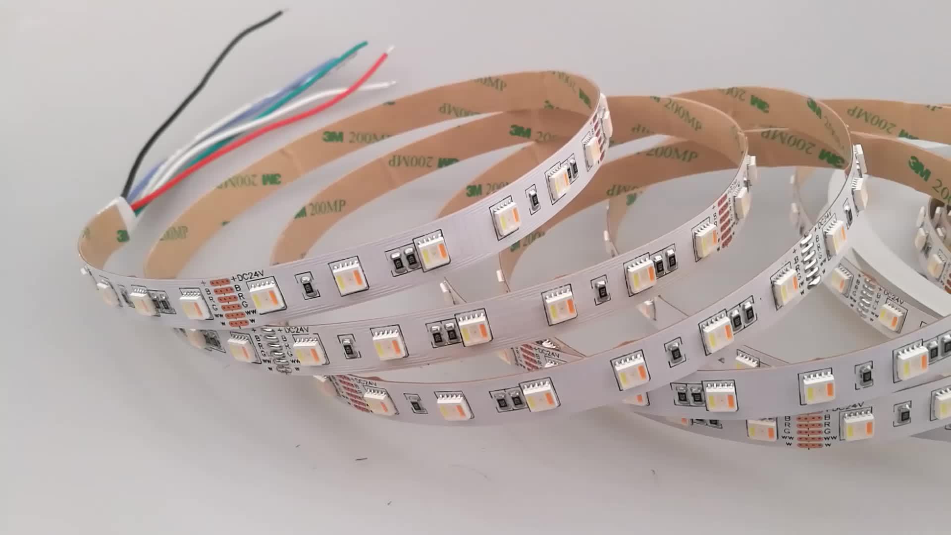 2019 hot sell GRILIGHT 12mm PCB 24W 5 color in 1 led multi color SMD5050 60led per meter RGBWW led strip