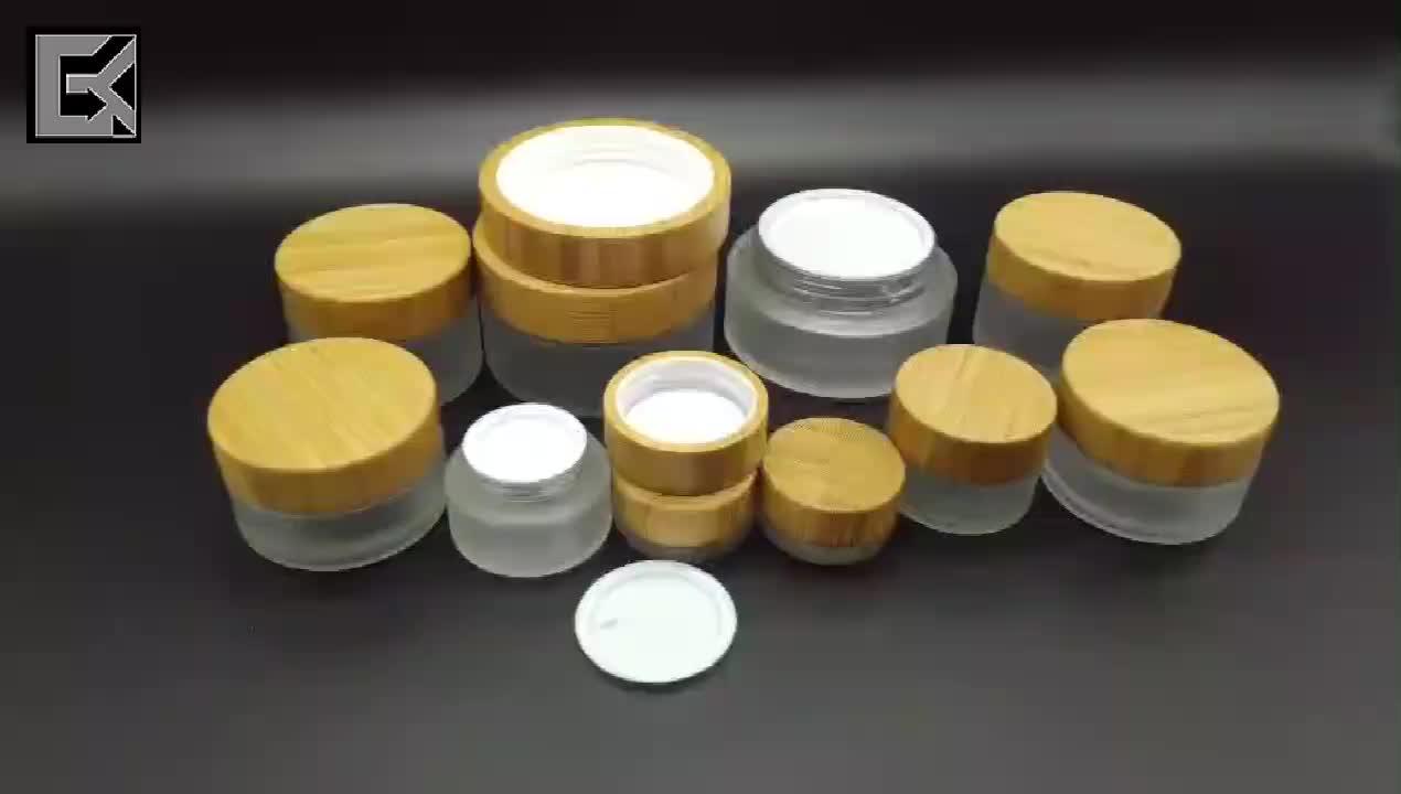 โรงงานราคา bamboo face cream jar 30g 1oz frosted แก้วไม้ไผ่ jar พร้อมฝาไม้ไผ่
