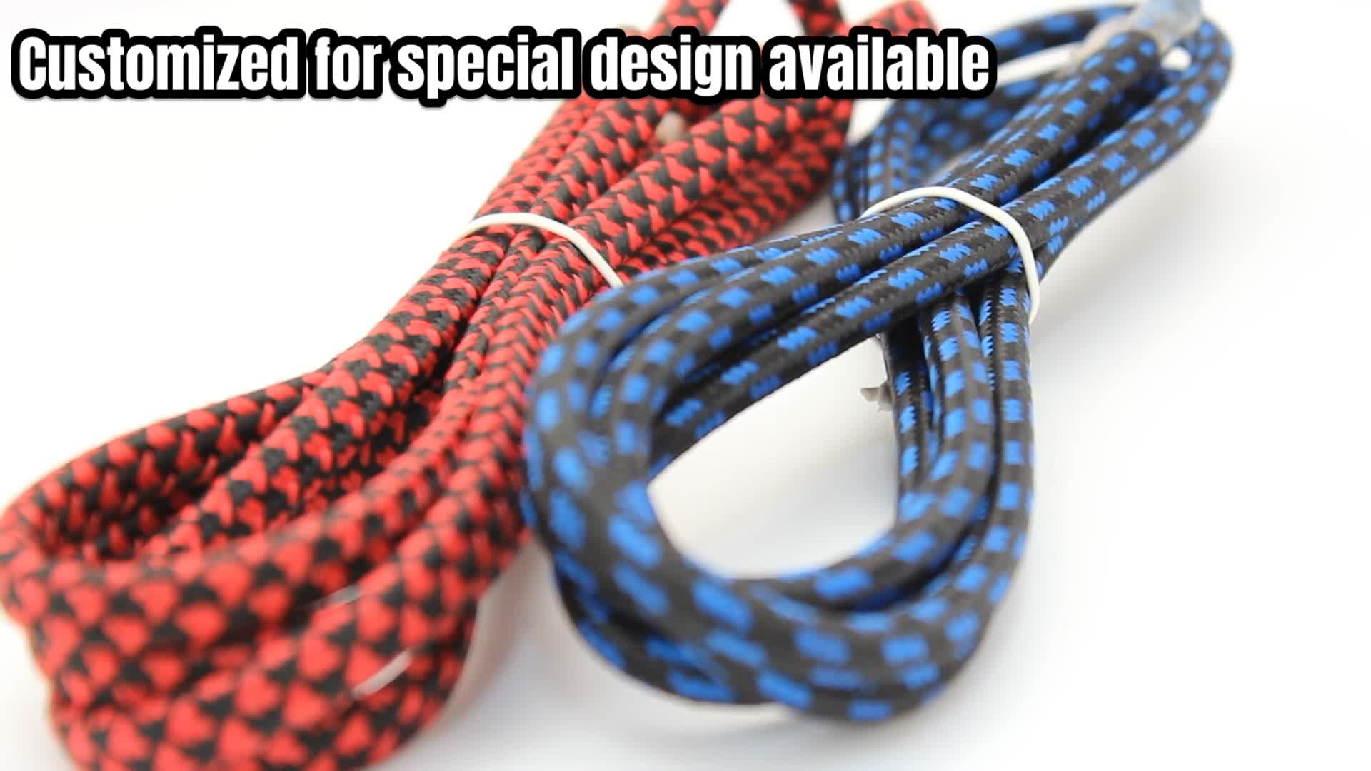 HANSTAR Retro Cloth Covered Lighting Cable Wire Fabric Textile Cable 2 Core Brained Twisted Knitting Electric Wire Cable
