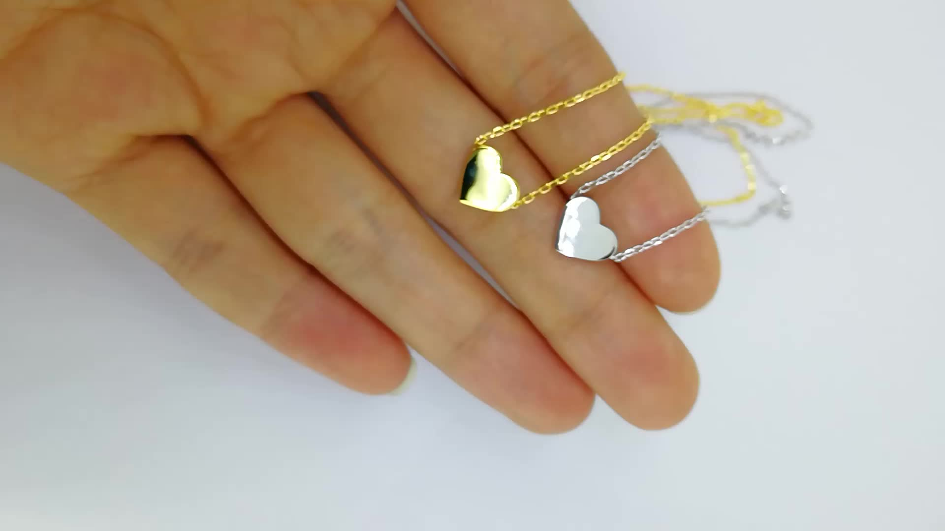 silver necklace 925 sterling mini heart necklace dainty necklace