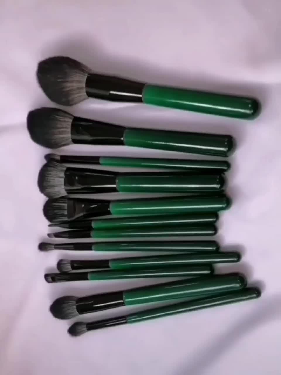 2020 neue! 12pcs Profi Powder Foundation lidschatten grün Make-Up Pinsel Kosmetik Synthetische Haar make-up pinsel set
