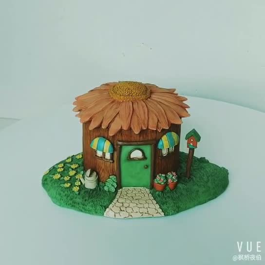 6 Inch fairy garden Resin Mini Sunflower House Decoration Craft
