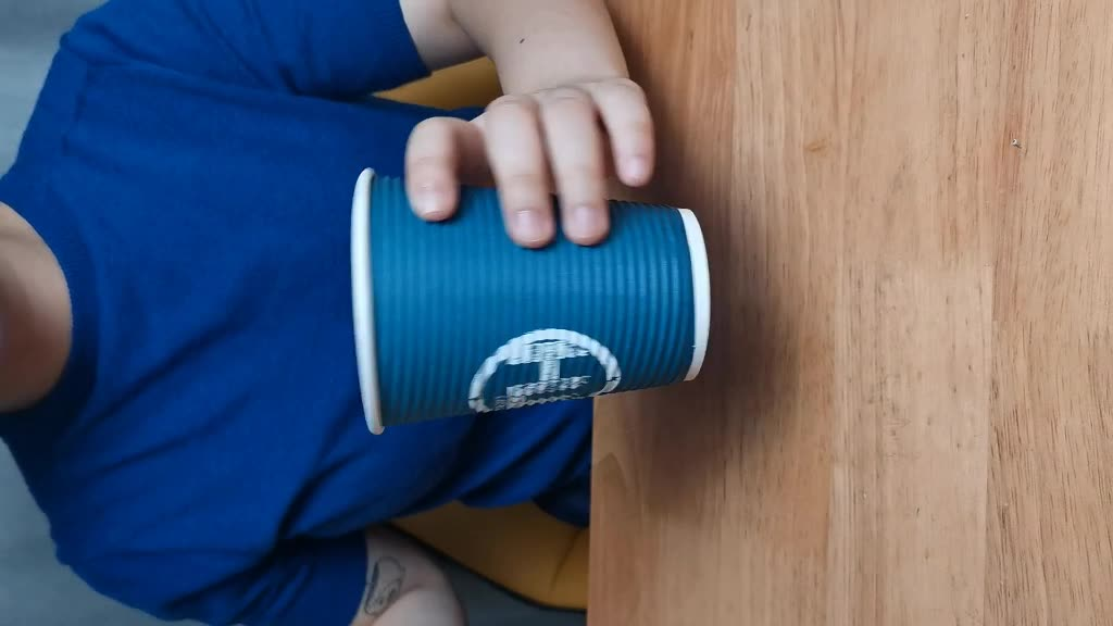 Blue hot sale disposable coffee cup double wall ripple paper cups