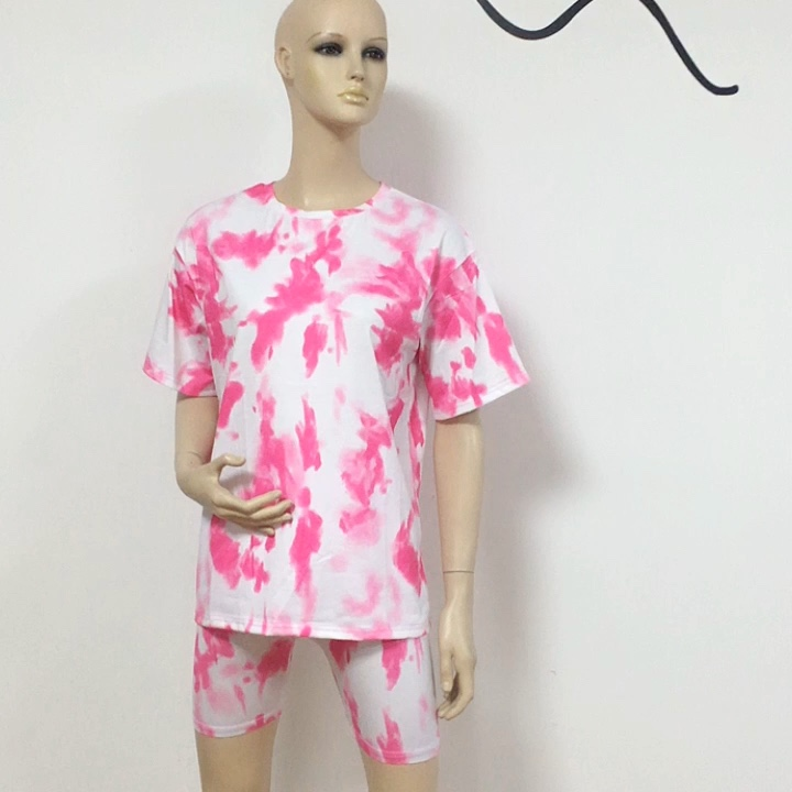 2020 Women Tie Dye Print Basic Short Sleeve Tops and Shorts Two Piece Set Casual Outfits lounge wear Jogging Tracksuit