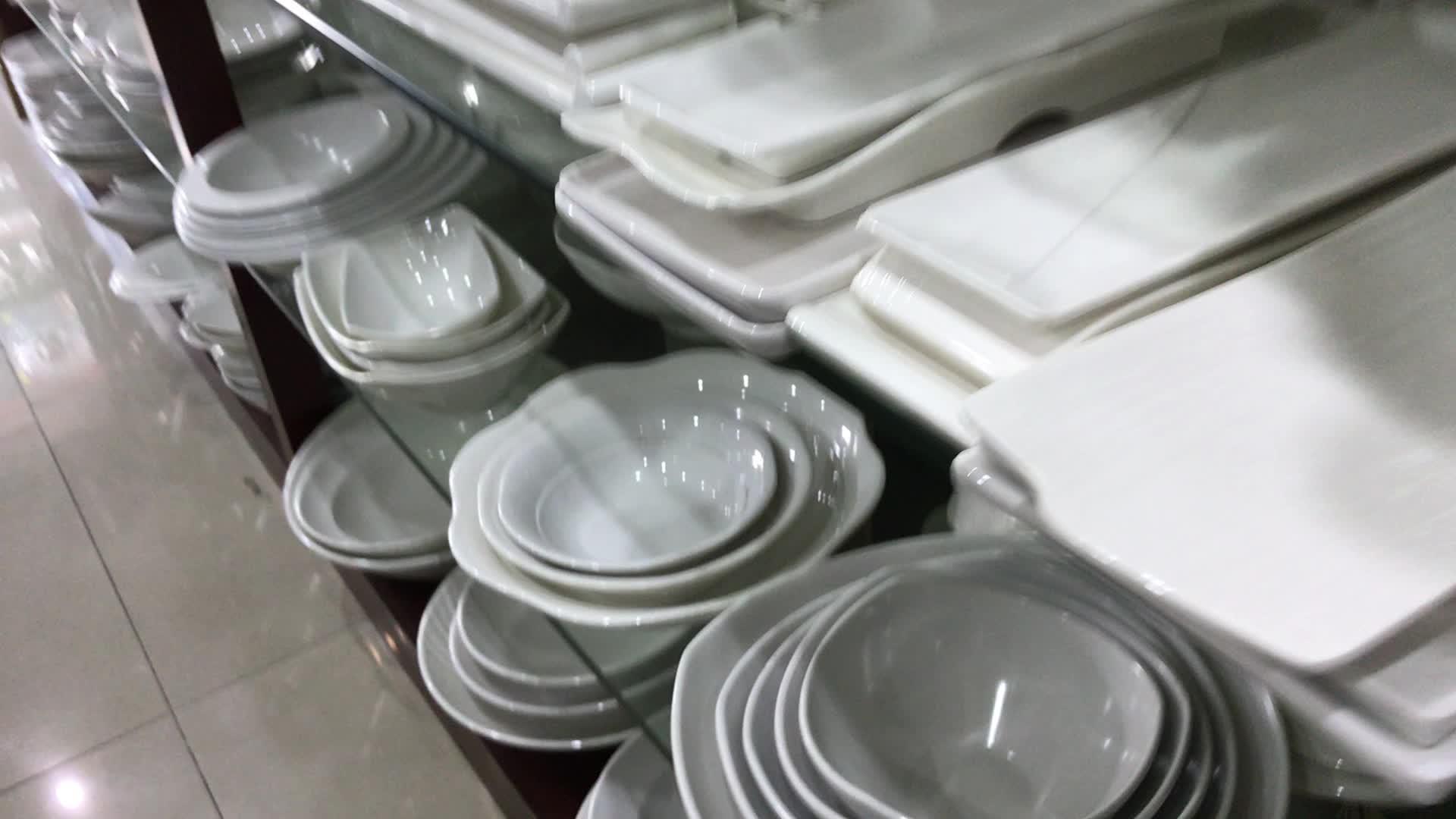 Дешевые OEM ODM ресторан столовая посуда блюдо белый прямоугольник на заказ Печать меламиновые тарелки