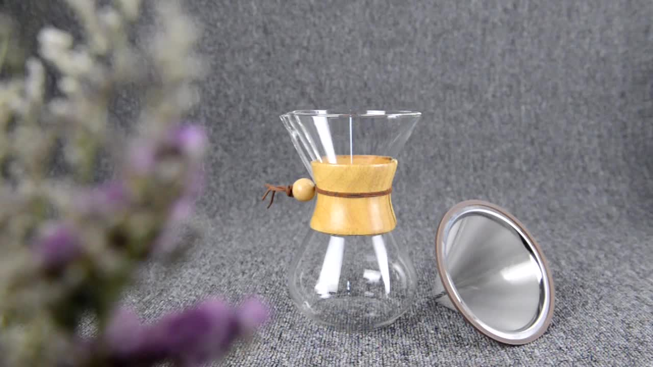 Manual Reusable Pour Over drip coffee maker with stainless steel filter