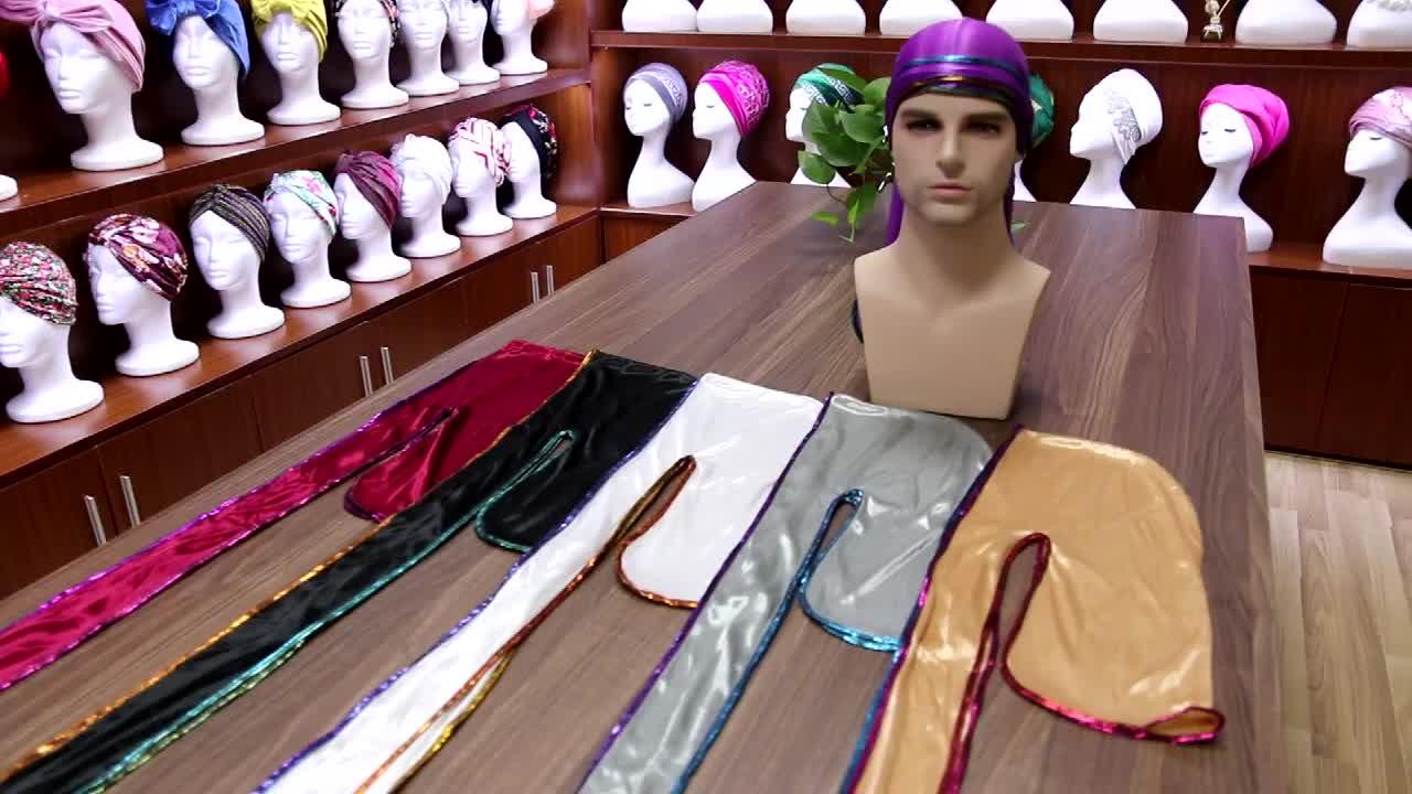 卸売新デザイン Headwrap ユニセックス段階的なカラーつばレーザーエッジデュぼろ無地固体ターバンサテン絹のようなバンダナ TJM-05A-1
