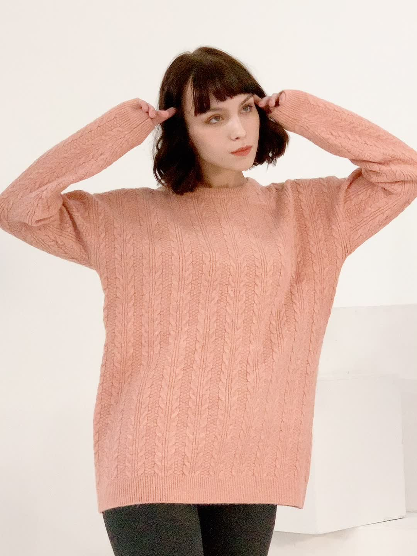 new winter all-cashmere sweater loose retro twist sweater designs for women