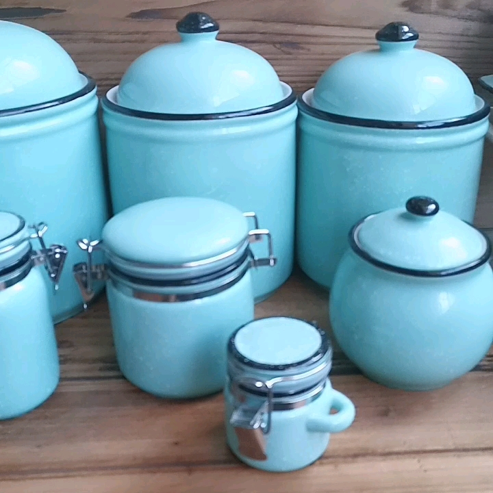 Wholesale blue with white dot ceramic canister coffee sugar tea stoneware food container