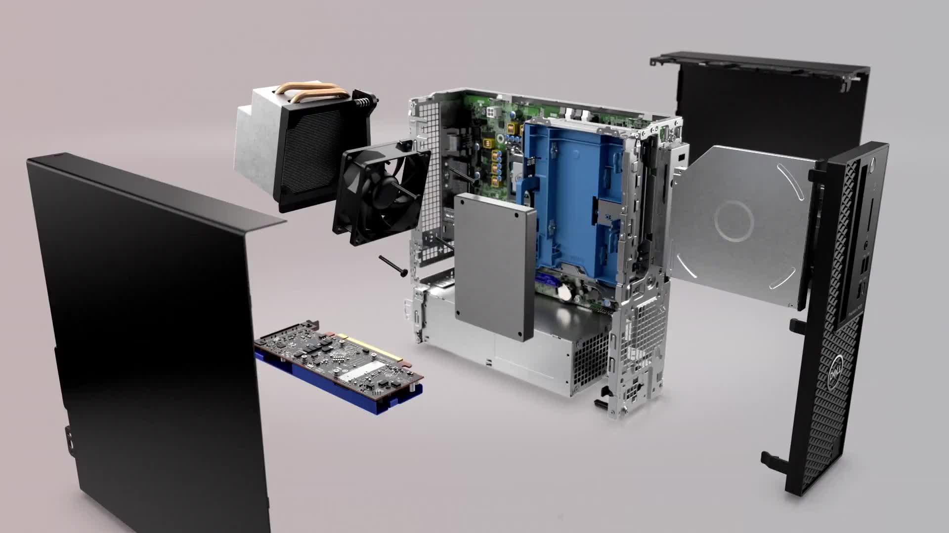 精密 T3430 小型フォームワークステーション、インテルコア i3-8100 、 8 ギガバイトの RAM 、 256 ギガバイトの SSD + 500 ギガバイトの SATA 、 Dell