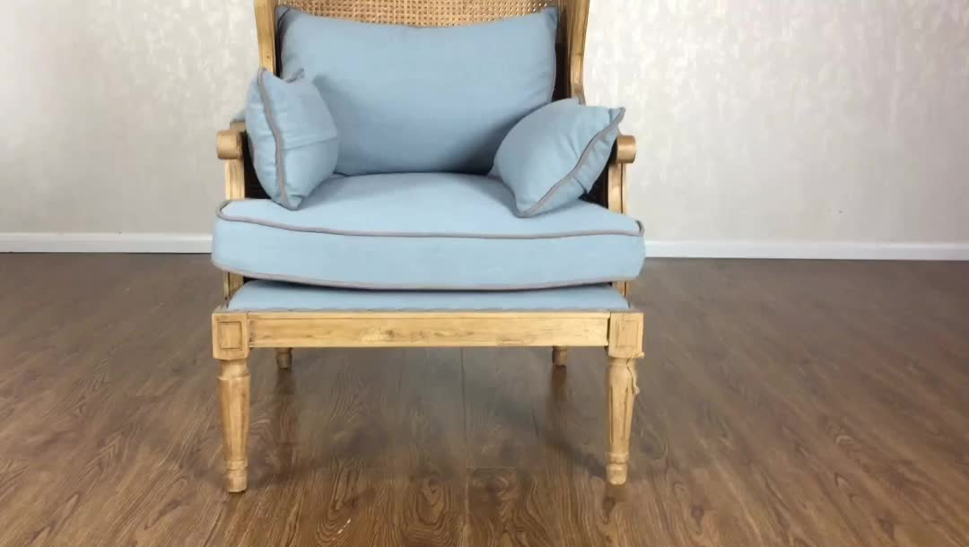 french provincial living room sofa chair wood rattan frame upholstered wing back chair