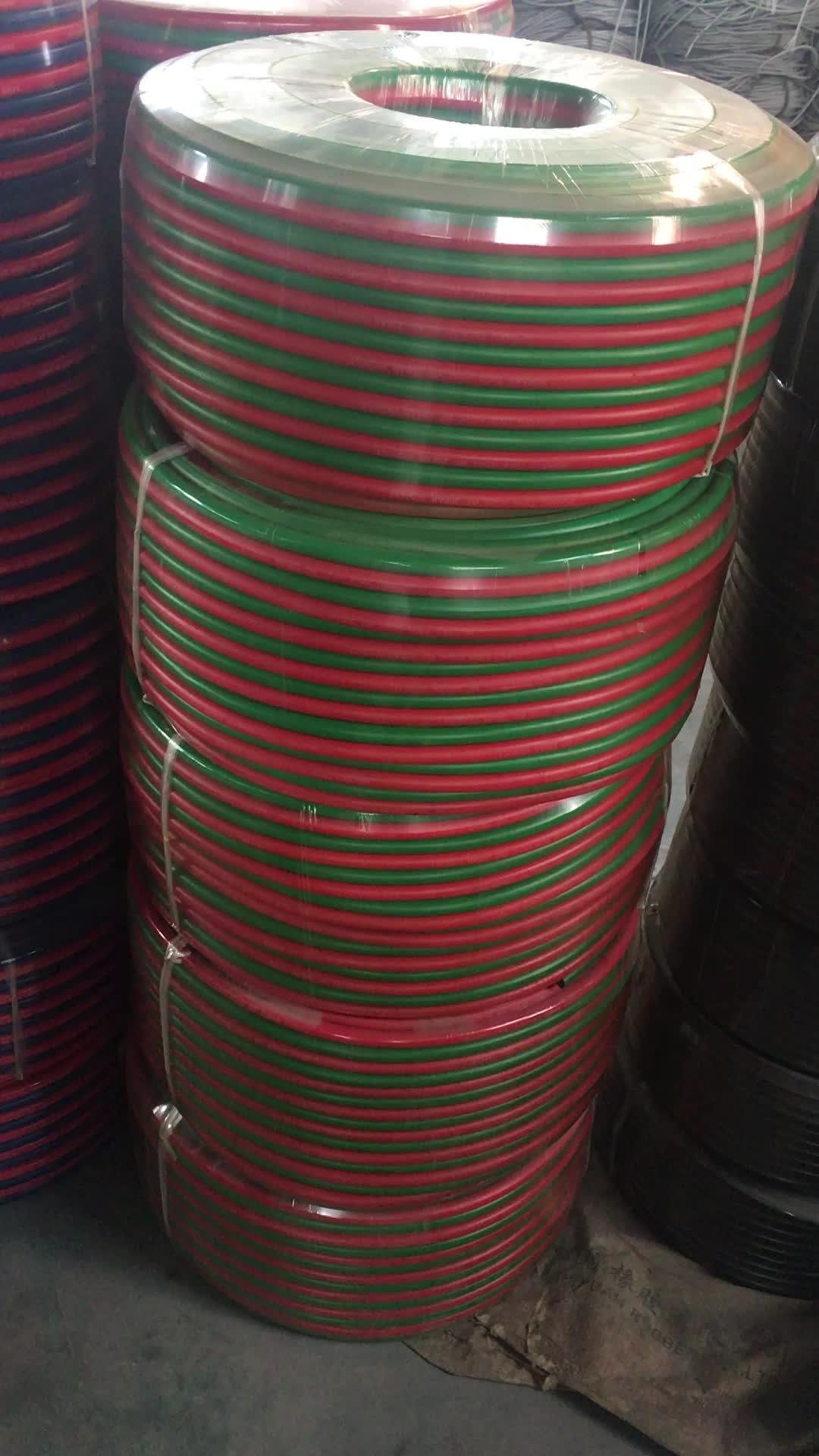 उच्च गुणवत्ता आर ग्रेड हरे और लाल ऑक्सीजन और एसिटिलीन पीवीसी जुड़वां वेल्डिंग नली