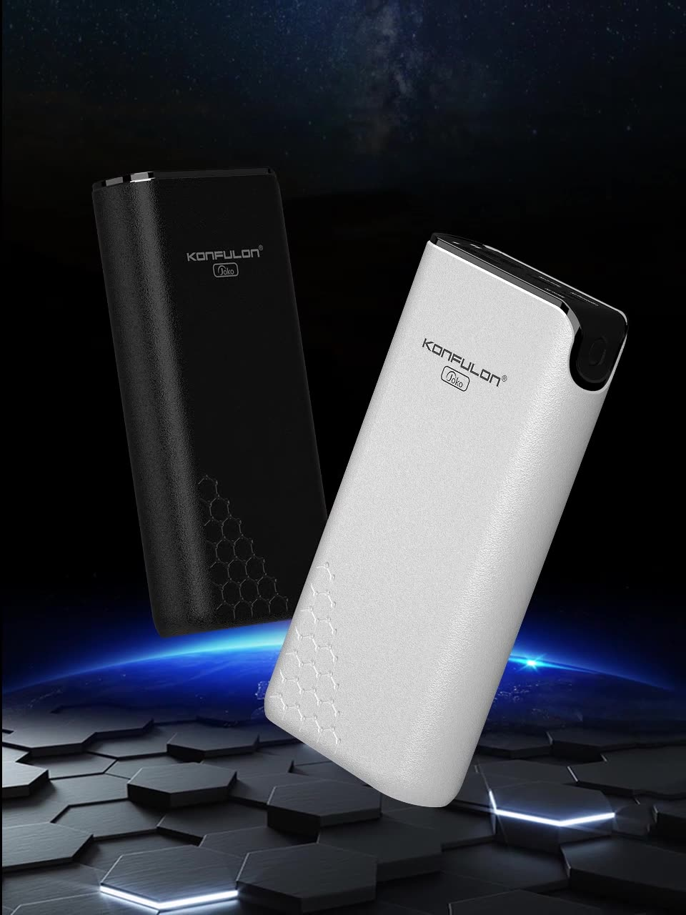Konfulon Fast Charging Portable Charger External  Portable Battery Power Bank 20000 mAh Slim with LED Display