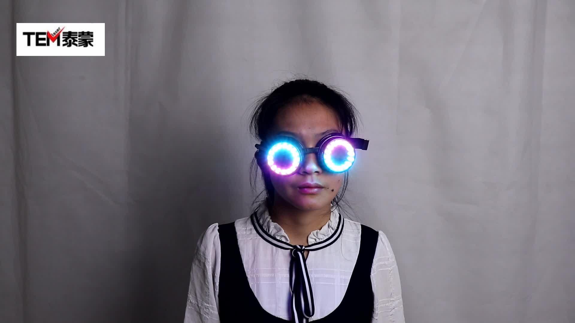 पैड के साथ पूर्ण रंग पिक्सेल लेजर चश्में चश्मा का नेतृत्व किया तीव्र बहु-रंग का 350 मोड बड़बड़ाना EDM
