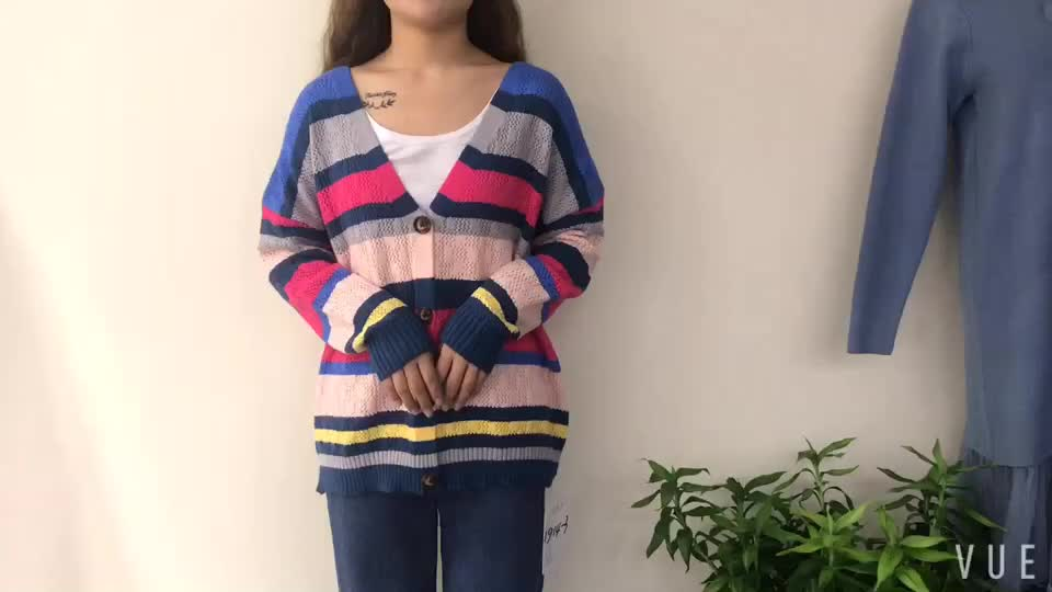 knitwear fashion stripe hollow out spring style v neck loose cardigan knit with button