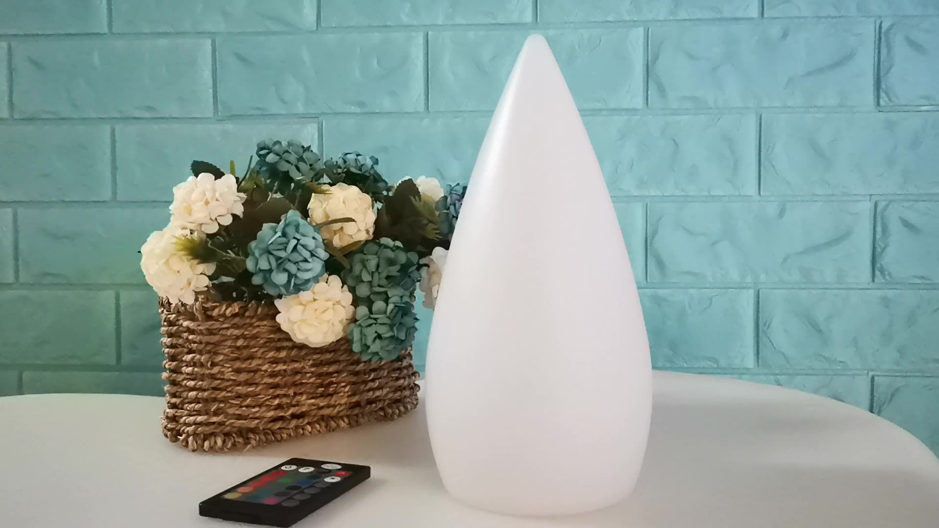 led water drop shape table lamp for decoration with rechargeable battery working 8~12hours