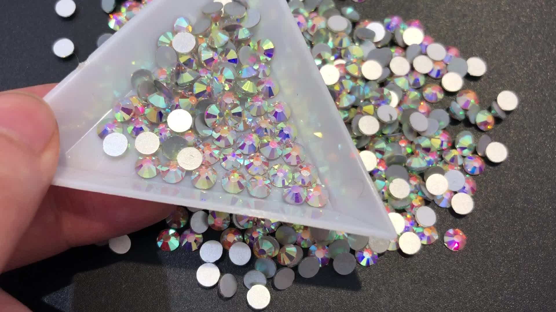 Oleeya Wholesale SS3-SS50 Over 80 Colors Glass Flat Back Non Hot Fix Nail Rhinestones For Nails Art Decoration