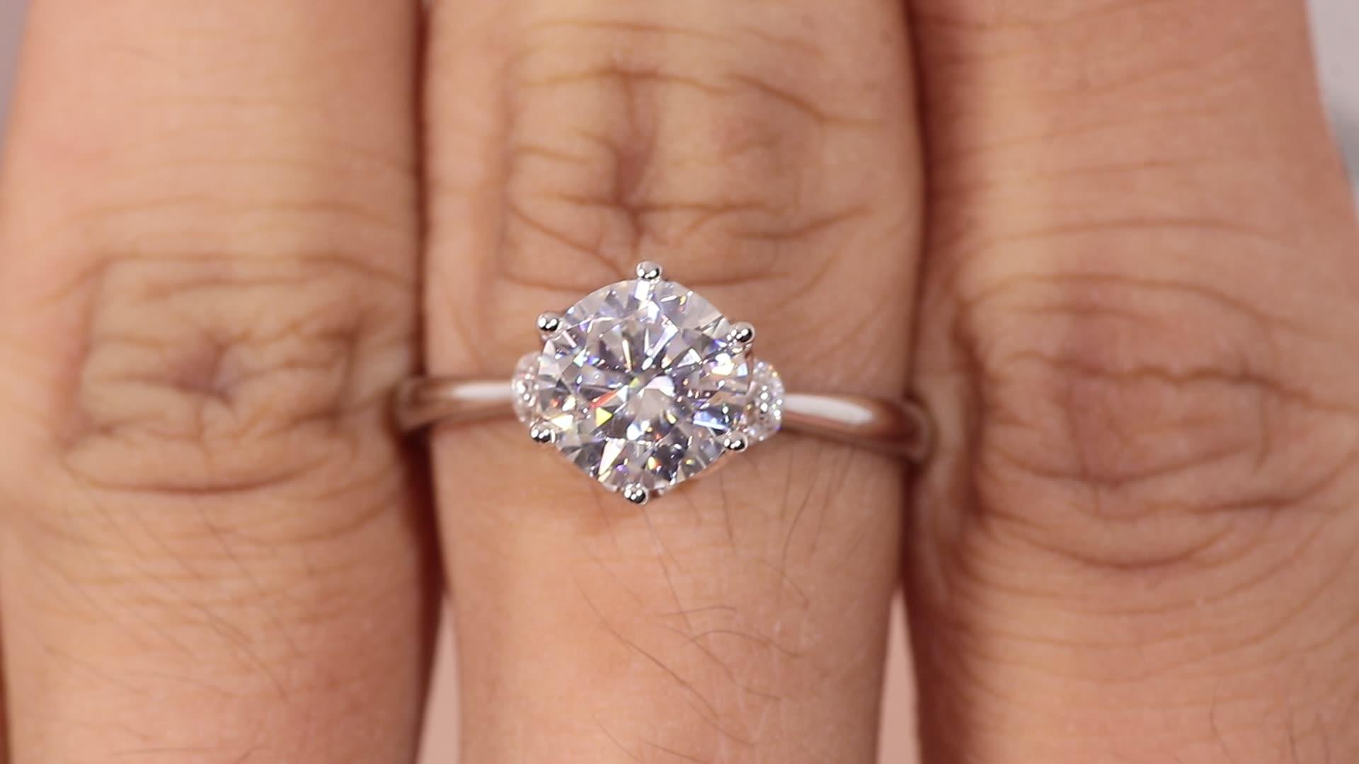 IGI certificar lab grown diamante anéis de noivado 14k ouro branco perto 2 carat anel solitário de diamante