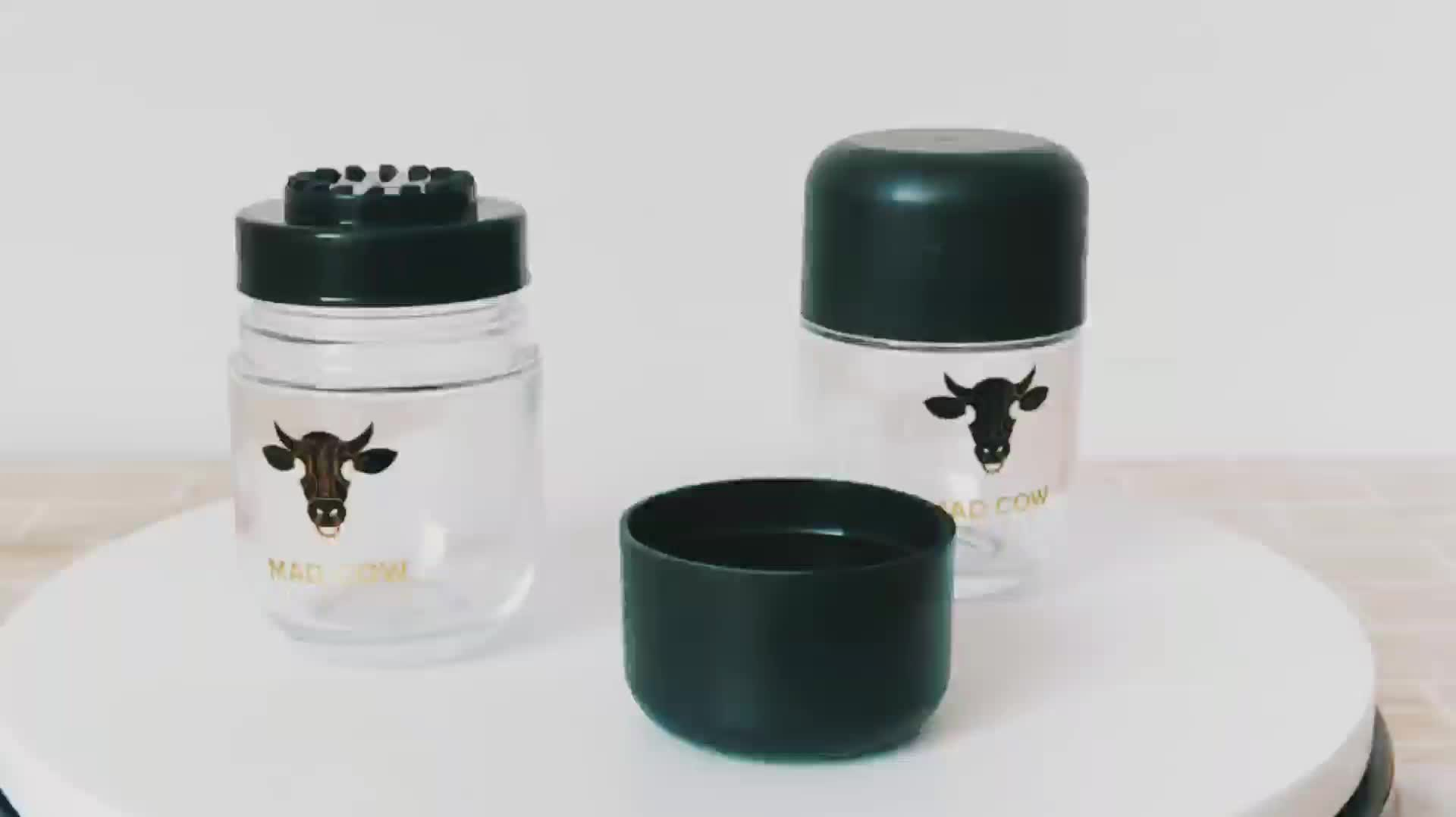 Wholesale clear white 98ml ChildProof Cap Small Round Glass Container