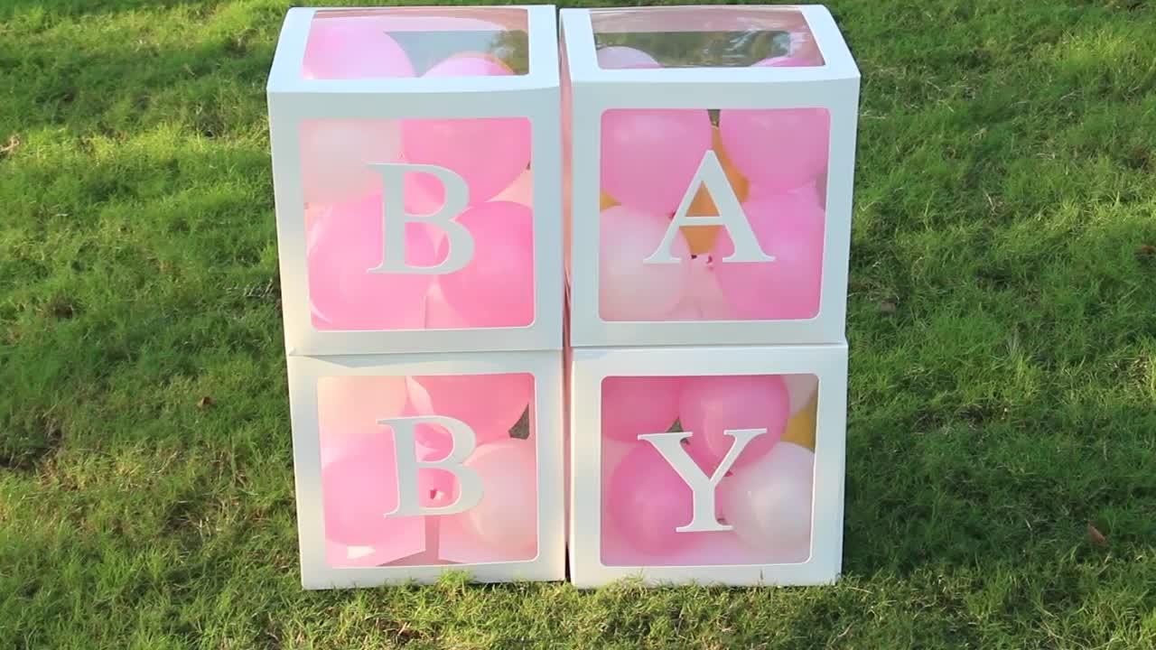 A-Z מכתבי לבן הפתעה תיבת לאהבה ילד ילדה תינוק מקלחת מסיבת יום הולדת בלון דקור קופסות הטבלה טבילת יום הולדת דצמבר