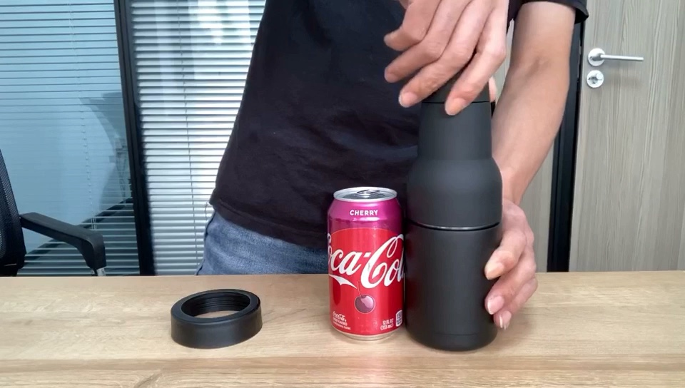12 Oz Eco Friendly BPA Free Matte Black Mini Metal Vacuum Insulated Double Walled Stainless Steel Beer Bottle Can Cooler Holder