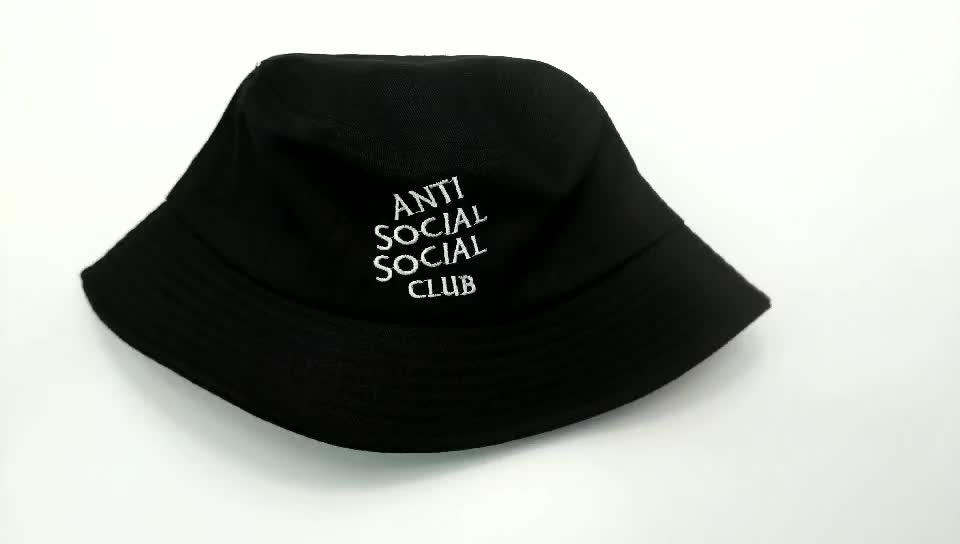 Customize Spring Summer Black Bucket Hat 100% Cotton Washable Outdoor Casual Bucket Cap For Promotional Gifts