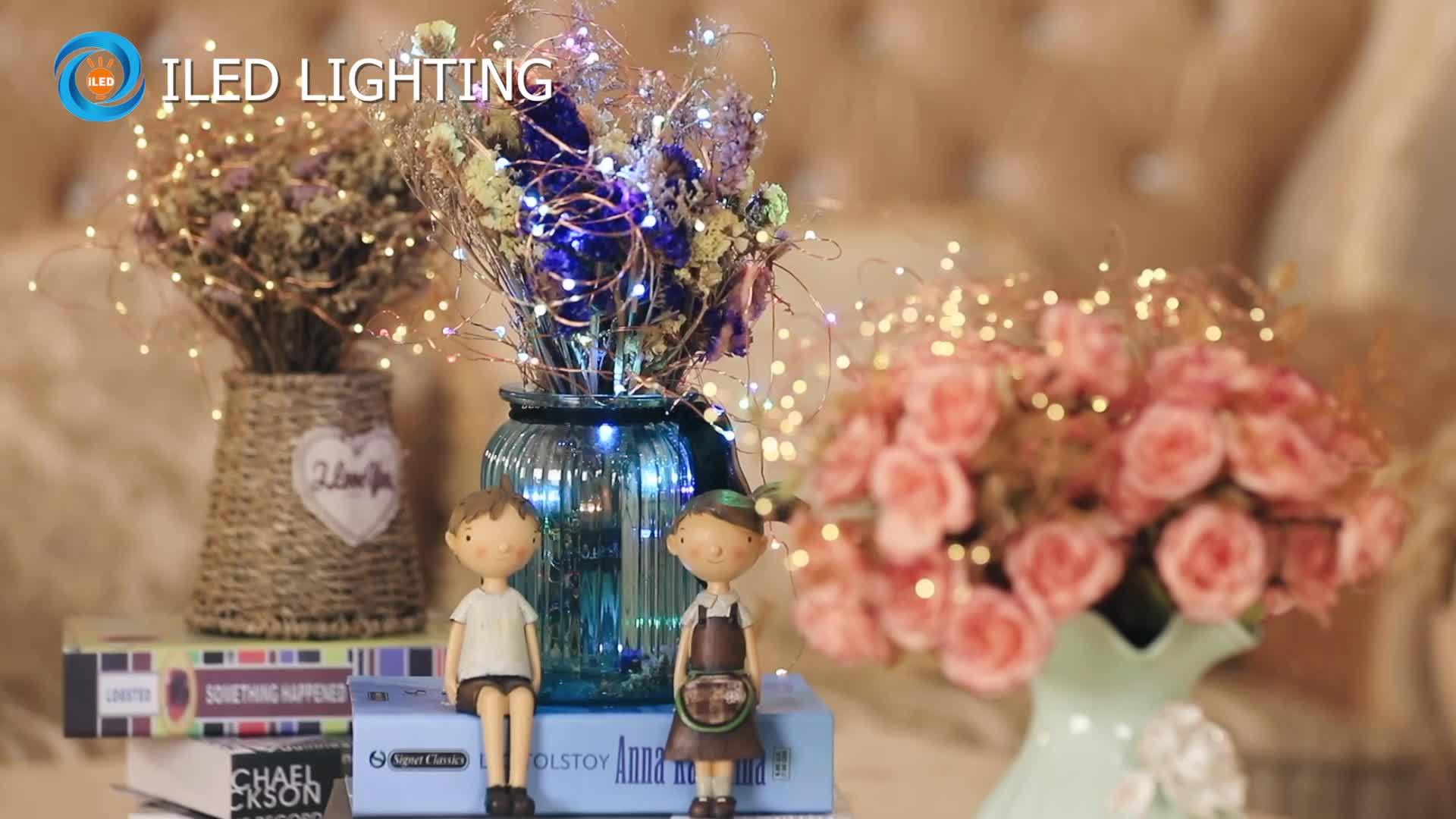 Custom made high quality CR2032 button battery operated mini copper wire LED fairy string lights