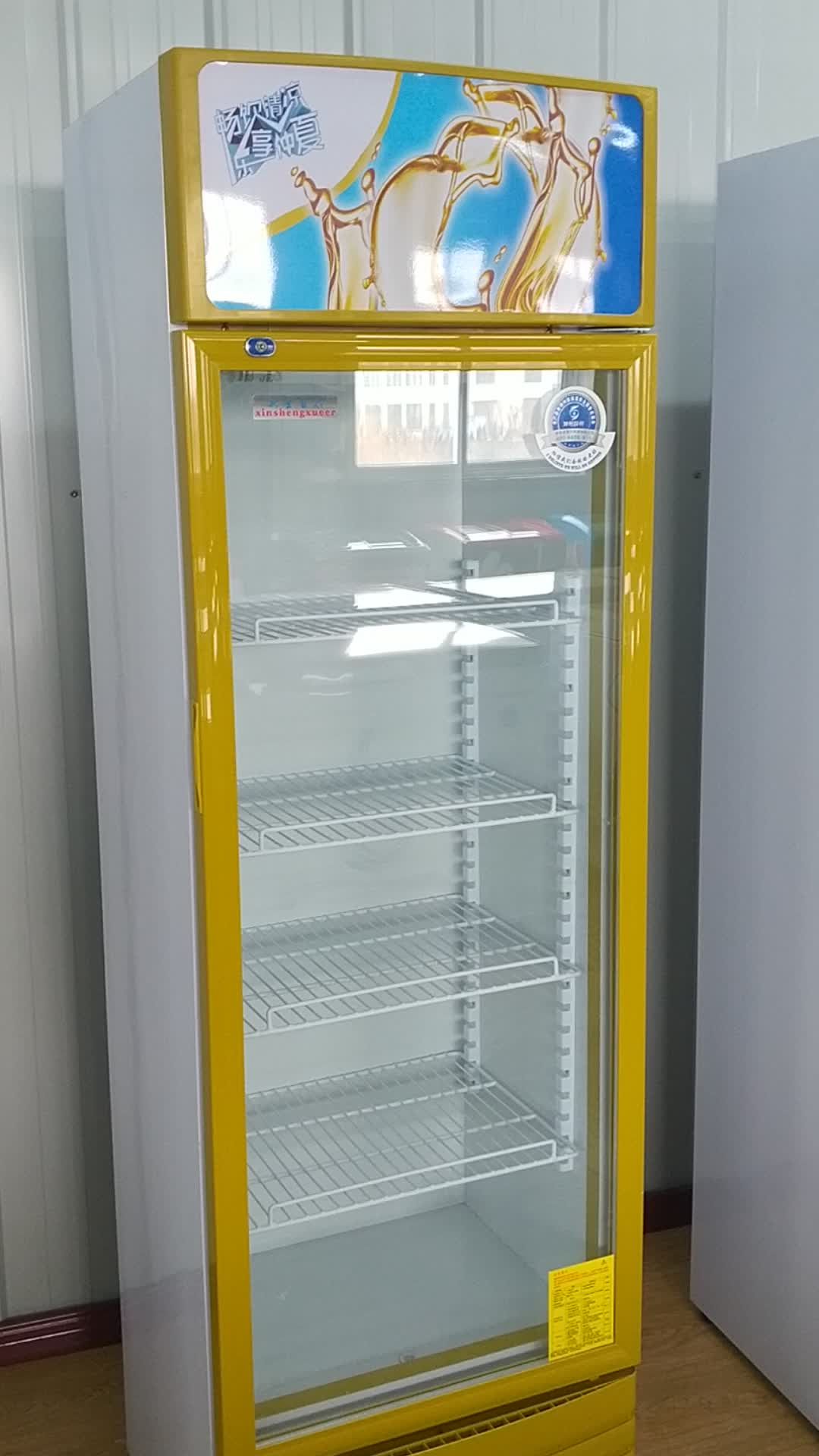 300l Upright Refrigerator Single Glass Door Cooler Commercial