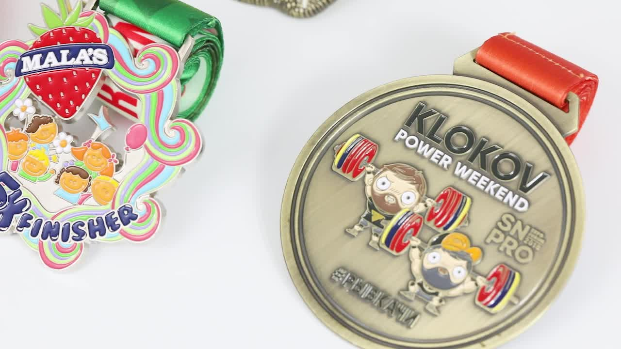 cheap badminton pink ribbon metal medal