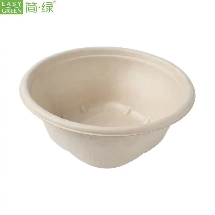 Disposable Biodegradable Bagasse Pulp Restaurant-Grade Microwave Compostable Wheatstraw Paper Soup Bowl