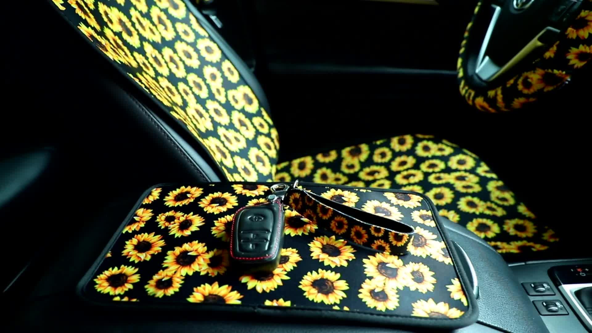 Neoprene Car Floor Mats Car Coasters Car Steering Wheel Covers