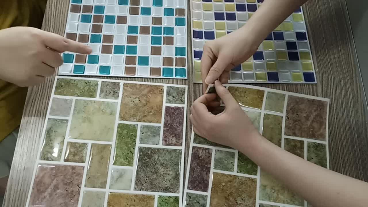 3D de Pvc/Pe espuma de baldosas de vinilo en relieve pared pegatinas/impermeable azulejo pegatinas Citas