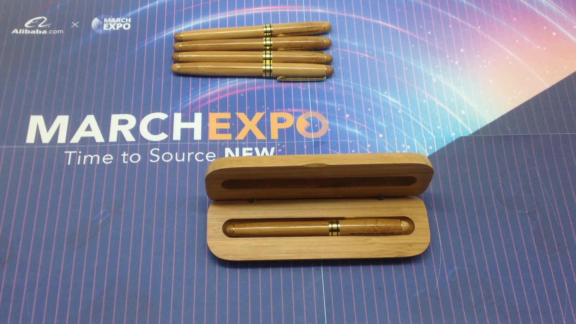 ส่งเสริมการขายโลโก้ที่กำหนดเองไม้ไผ่หรูประดิษฐ์ตัวอักษร Fountain ปากกา