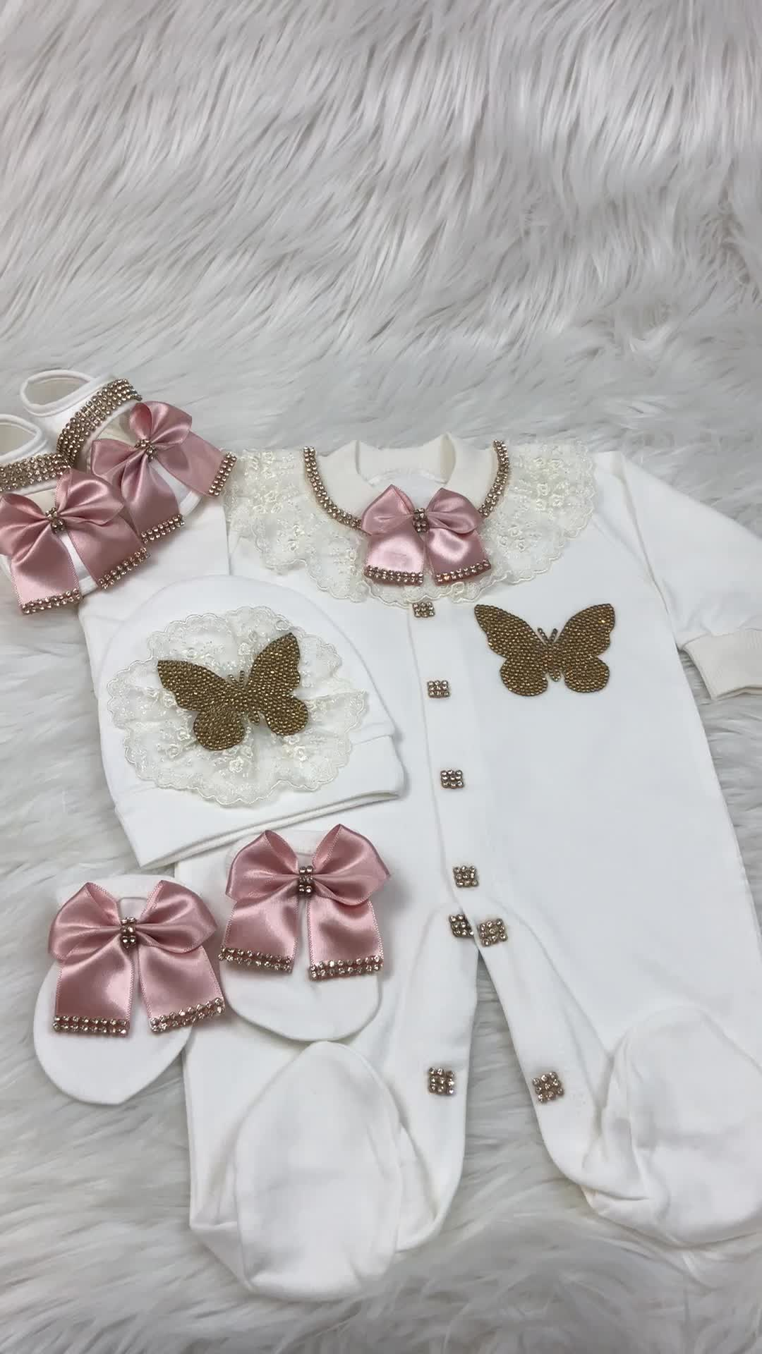 1ad2c3bb540 4 Pieces Baby Romper Set Butterfly Blush Gold New Born To 12 Month ...
