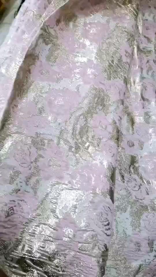 Metallico Del Merletto Del Fiore Del Jacquard In Rilievo Tessuto Broccato per la cerimonia nuziale indumento broccato tessuto per il vestito