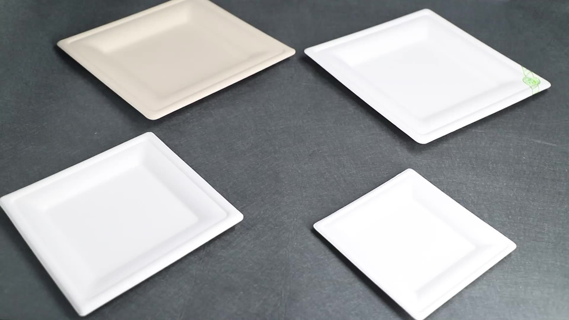 Recycled disposable  water proof bagasse/bamboo fiber 10 inches square paper plate