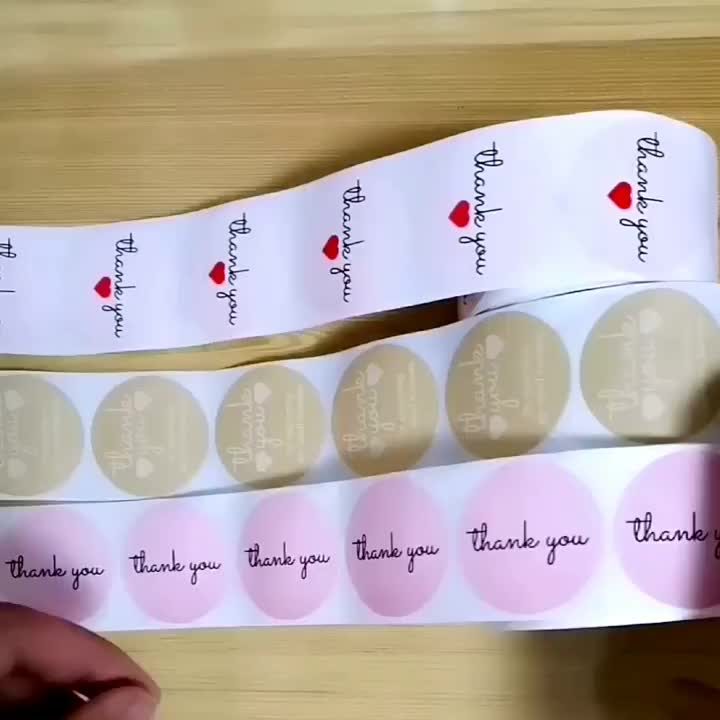 Hot sale 500 pieces per roll 1.5 inch self adhesive printing round kraft paper thank you label sticker