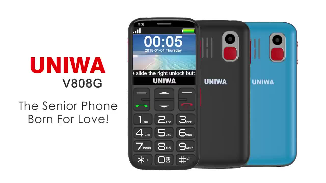 2.31 Inch Curved Screen Single SIM 3G Old Man Senior Mobile Phone UNIWA V808G Gift For 60 Year Old Man