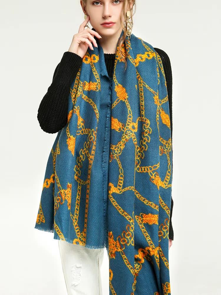 2021 New Arrivals Fashion Women Luxury Elegant Shawl Scarves Side Ripped Belt Chain Print Scarf
